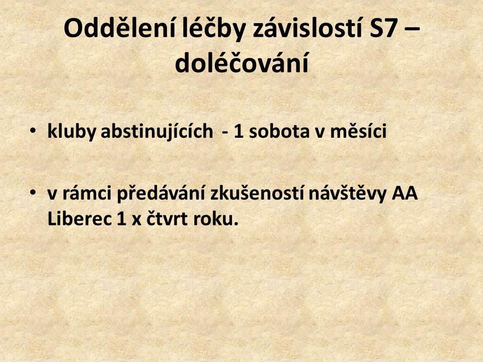 Oddělení léčby závislostí S7 – doléčování kluby abstinujících - 1 sobota v měsíci v rámci předávání zkušeností návštěvy AA Liberec 1 x čtvrt roku.
