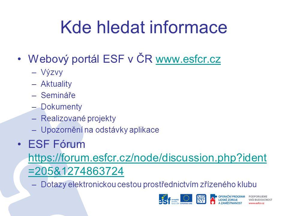 Kde hledat informace Webový portál ESF v ČR www.esfcr.czwww.esfcr.cz –Výzvy –Aktuality –Semináře –Dokumenty –Realizované projekty –Upozornění na odstávky aplikace ESF Fórum https://forum.esfcr.cz/node/discussion.php ident =205&1274863724 https://forum.esfcr.cz/node/discussion.php ident =205&1274863724 –Dotazy elektronickou cestou prostřednictvím zřízeného klubu