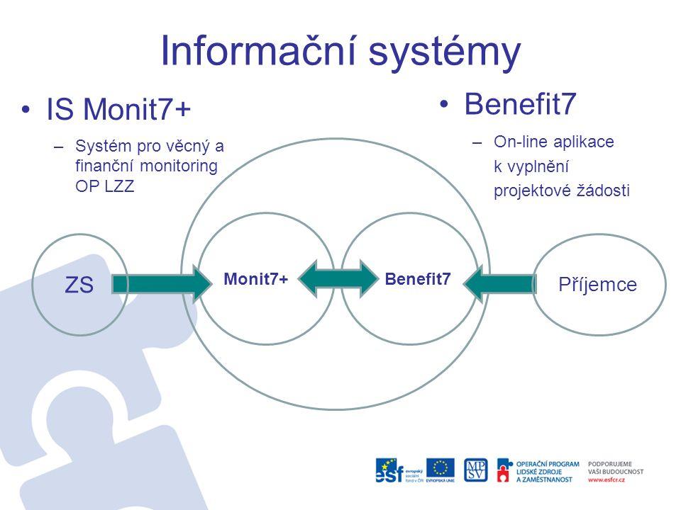 Informační systémy IS Monit7+ –Systém pro věcný a finanční monitoring OP LZZ Benefit7 –On-line aplikace k vyplnění projektové žádosti Monit7+Benefit7 ZS Příjemce