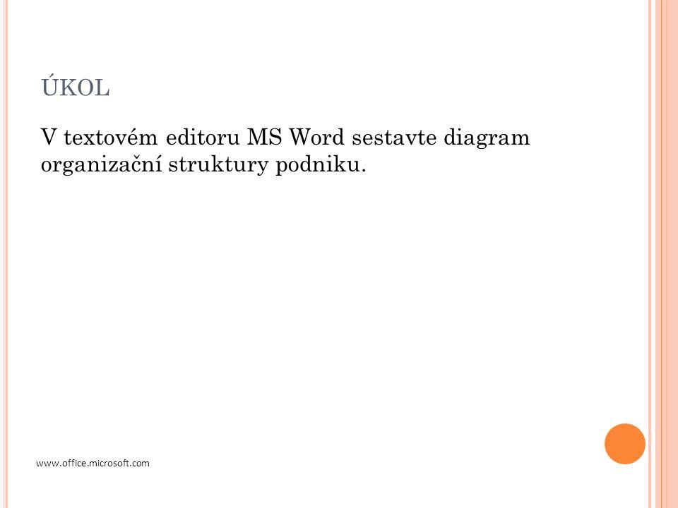 ÚKOL V textovém editoru MS Word sestavte diagram organizační struktury podniku.