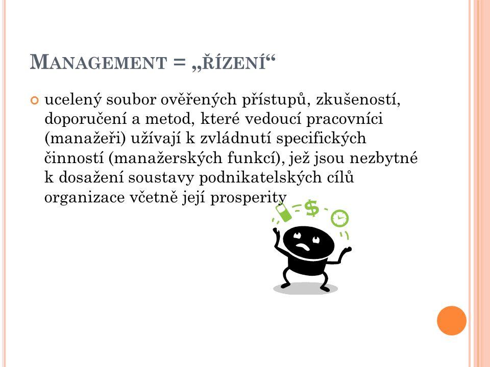 """M ANAGEMENT = """" ŘÍZENÍ ucelený soubor ověřených přístupů, zkušeností, doporučení a metod, které vedoucí pracovníci (manažeři) užívají k zvládnutí specifických činností (manažerských funkcí), jež jsou nezbytné k dosažení soustavy podnikatelských cílů organizace včetně její prosperity"""