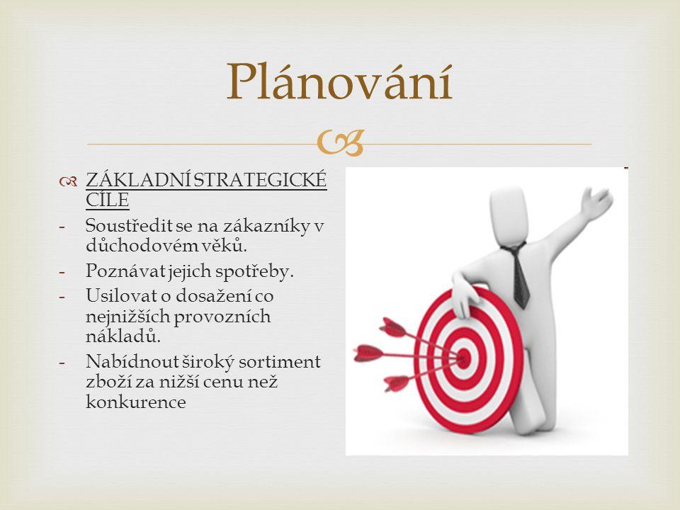  Plánování  ZÁKLADNÍ STRATEGICKÉ CÍLE -Soustředit se na zákazníky v důchodovém věků.