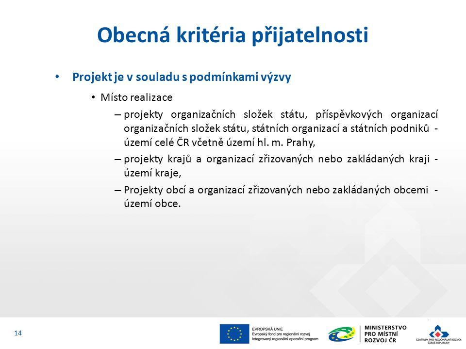 Projekt je v souladu s podmínkami výzvy Místo realizace – projekty organizačních složek státu, příspěvkových organizací organizačních složek státu, státních organizací a státních podniků - území celé ČR včetně území hl.