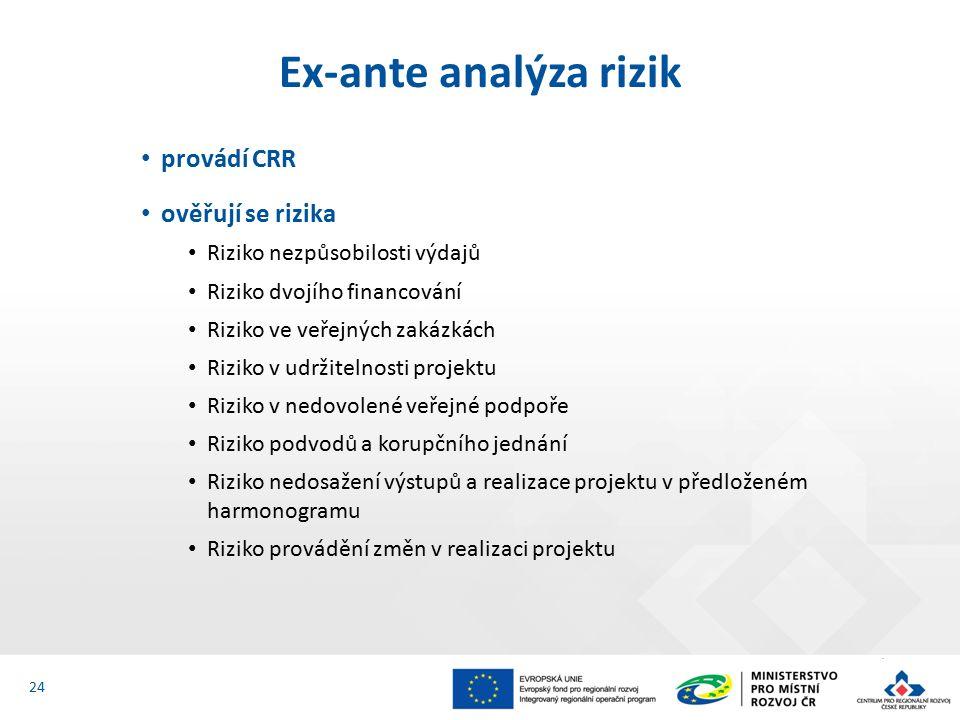 provádí CRR ověřují se rizika Riziko nezpůsobilosti výdajů Riziko dvojího financování Riziko ve veřejných zakázkách Riziko v udržitelnosti projektu Riziko v nedovolené veřejné podpoře Riziko podvodů a korupčního jednání Riziko nedosažení výstupů a realizace projektu v předloženém harmonogramu Riziko provádění změn v realizaci projektu Ex-ante analýza rizik 24