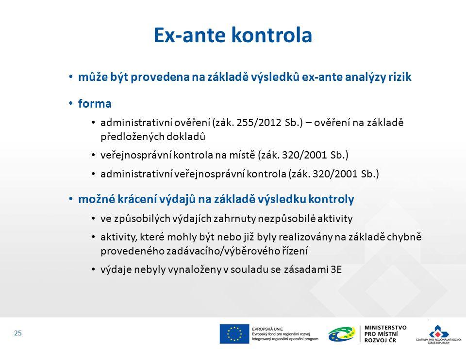 může být provedena na základě výsledků ex-ante analýzy rizik forma administrativní ověření (zák.
