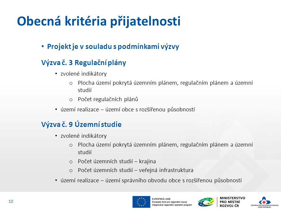 Projekt je v souladu s podmínkami výzvy Výzva č. 3 Regulační plány zvolené indikátory o Plocha území pokrytá územním plánem, regulačním plánem a územn