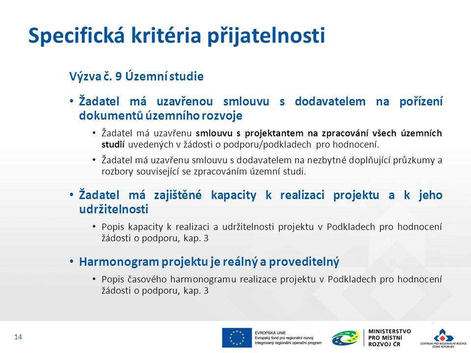 Výzva č. 9 Územní studie Žadatel má uzavřenou smlouvu s dodavatelem na pořízení dokumentů územního rozvoje Žadatel má uzavřenu smlouvu s projektantem