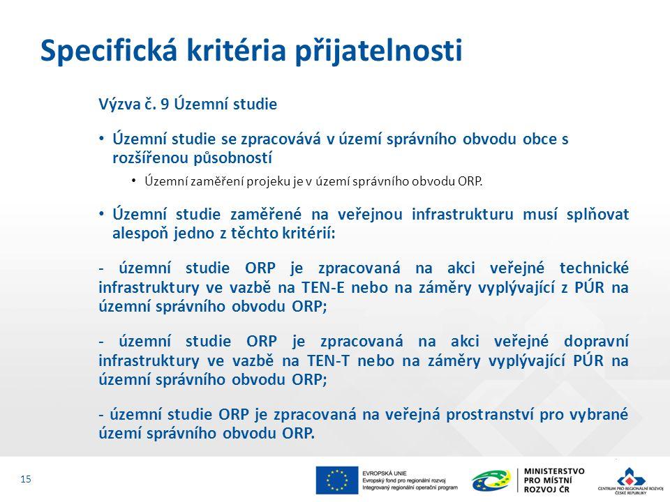 Výzva č. 9 Územní studie Územní studie se zpracovává v území správního obvodu obce s rozšířenou působností Územní zaměření projeku je v území správníh