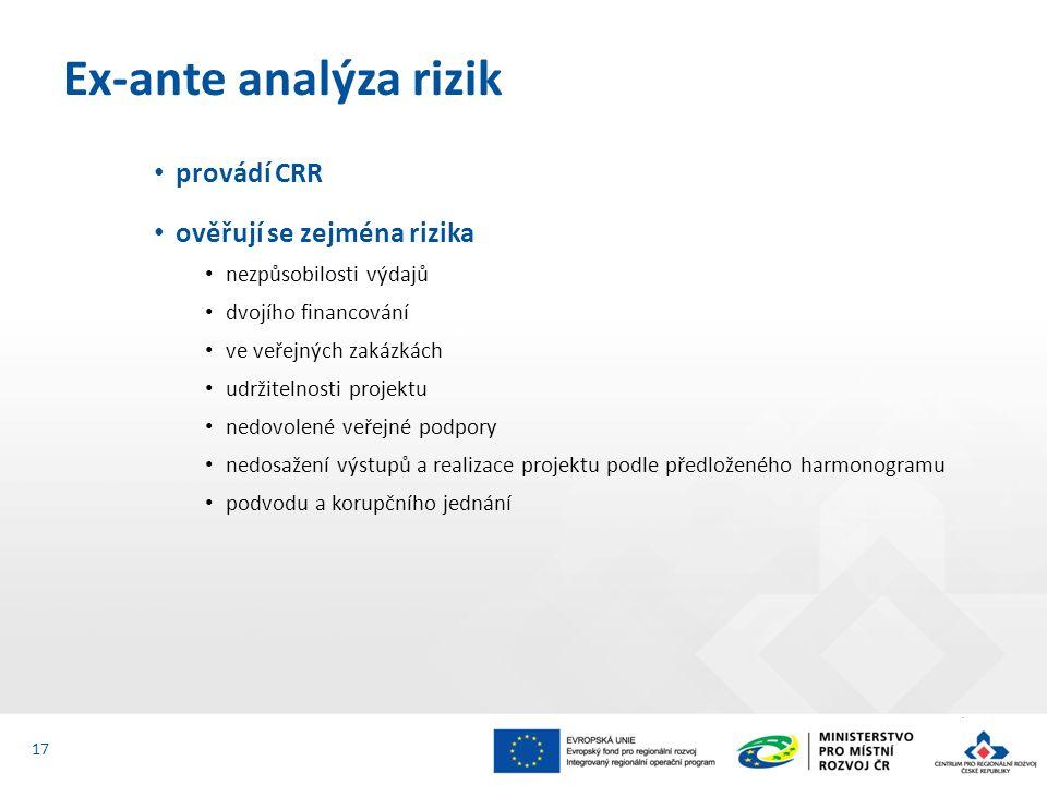 provádí CRR ověřují se zejména rizika nezpůsobilosti výdajů dvojího financování ve veřejných zakázkách udržitelnosti projektu nedovolené veřejné podpory nedosažení výstupů a realizace projektu podle předloženého harmonogramu podvodu a korupčního jednání Ex-ante analýza rizik 17