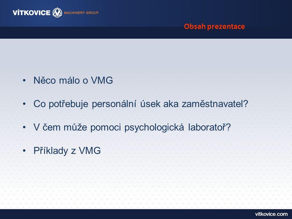 Obsah prezentace Něco málo o VMG Co potřebuje personální úsek aka zaměstnavatel.
