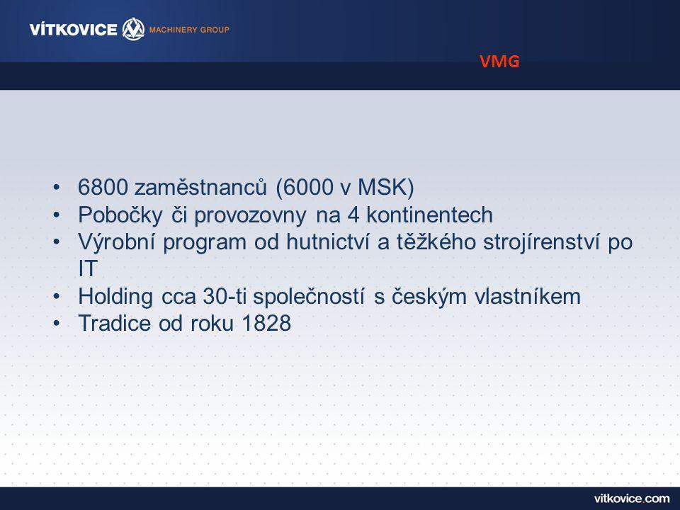 VMG 6800 zaměstnanců (6000 v MSK) Pobočky či provozovny na 4 kontinentech Výrobní program od hutnictví a těžkého strojírenství po IT Holding cca 30-ti společností s českým vlastníkem Tradice od roku 1828