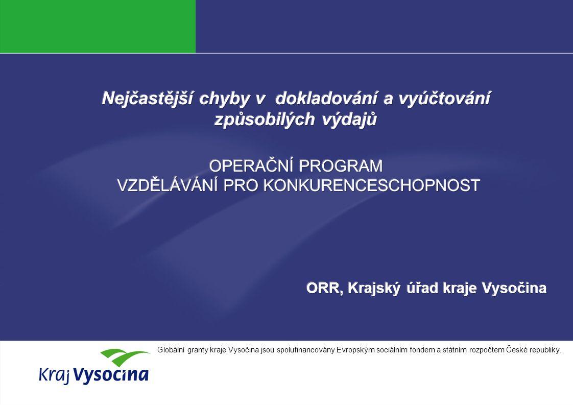 Alena Zítková INVESTICE DO ROZVOJE VZDĚLÁVÁNÍ Globální granty kraje Vysočina jsou spolufinancovány Evropským sociálním fondem a státním rozpočtem České republiky.