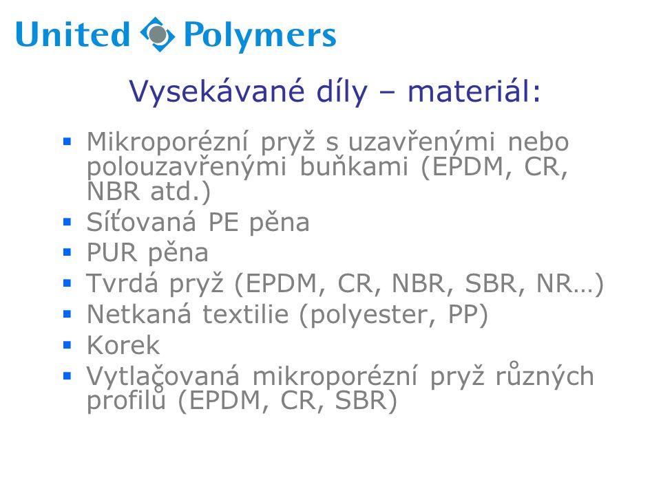 Vysekávané díly – materiál:  Mikroporézní pryž s uzavřenými nebo polouzavřenými buňkami (EPDM, CR, NBR atd.)  Síťovaná PE pěna  PUR pěna  Tvrdá pryž (EPDM, CR, NBR, SBR, NR…)  Netkaná textilie (polyester, PP)  Korek  Vytlačovaná mikroporézní pryž různých profilů (EPDM, CR, SBR)