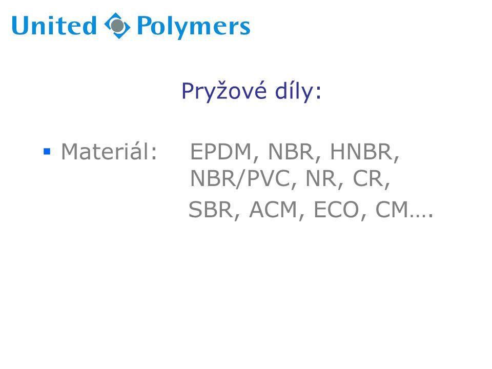 Pryžové díly:  Materiál: EPDM, NBR, HNBR, NBR/PVC, NR, CR, SBR, ACM, ECO, CM….