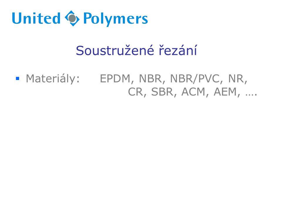  Materiály:EPDM, NBR, NBR/PVC, NR, CR, SBR, ACM, AEM, …. Soustružené řezání