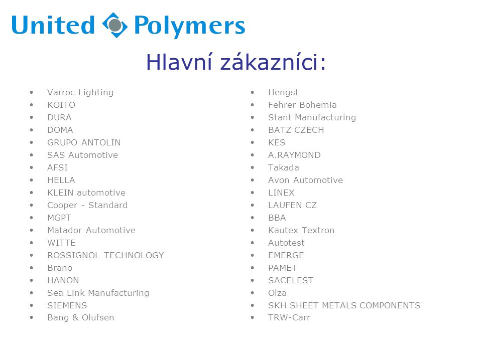 Hlavní zákazníci: Varroc Lighting KOITO DURA DOMA GRUPO ANTOLIN SAS Automotive AFSI HELLA KLEIN automotive Cooper - Standard MGPT Matador Automotive WITTE ROSSIGNOL TECHNOLOGY Brano HANON Sea Link Manufacturing SIEMENS Bang & Olufsen Hengst Fehrer Bohemia Stant Manufacturing BATZ CZECH KES A.RAYMOND Takada Avon Automotive LINEX LAUFEN CZ BBA Kautex Textron Autotest EMERGE PAMET SACELEST Olza SKH SHEET METALS COMPONENTS TRW-Carr