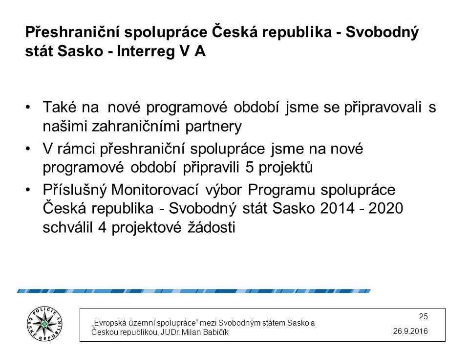 Přeshraniční spolupráce Česká republika - Svobodný stát Sasko - Interreg V A Také na nové programové období jsme se připravovali s našimi zahraničními