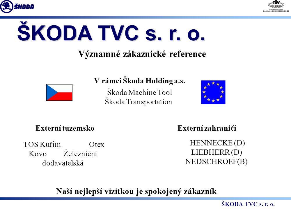 ŠKODA TVC s. r. o. Významné zákaznické reference V rámci Škoda Holding a.s.