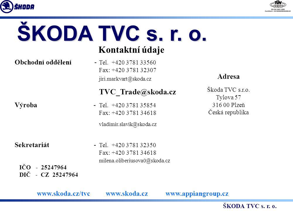 Kontaktní údaje Obchodní oddělení - Tel.