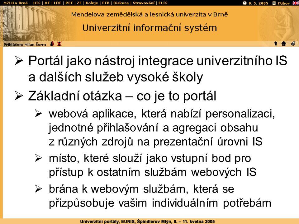  Portál jako nástroj integrace univerzitního IS a dalších služeb vysoké školy  Základní otázka – co je to portál  webová aplikace, která nabízí personalizaci, jednotné přihlašování a agregaci obsahu z různých zdrojů na prezentační úrovni IS  místo, které slouží jako vstupní bod pro přístup k ostatním službám webových IS  brána k webovým službám, která se přizpůsobuje vašim individuálním potřebám