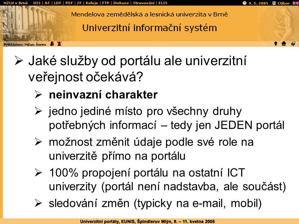  Jaké služby od portálu ale univerzitní veřejnost očekává.