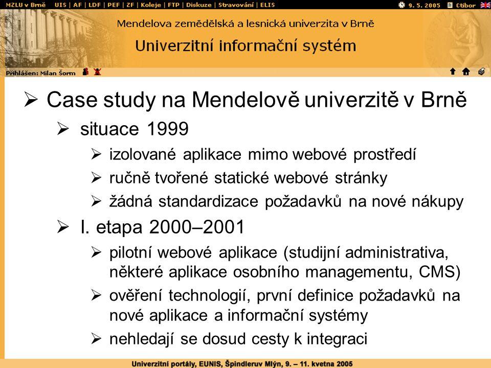  Case study na Mendelově univerzitě v Brně  situace 1999  izolované aplikace mimo webové prostředí  ručně tvořené statické webové stránky  žádná standardizace požadavků na nové nákupy  I.