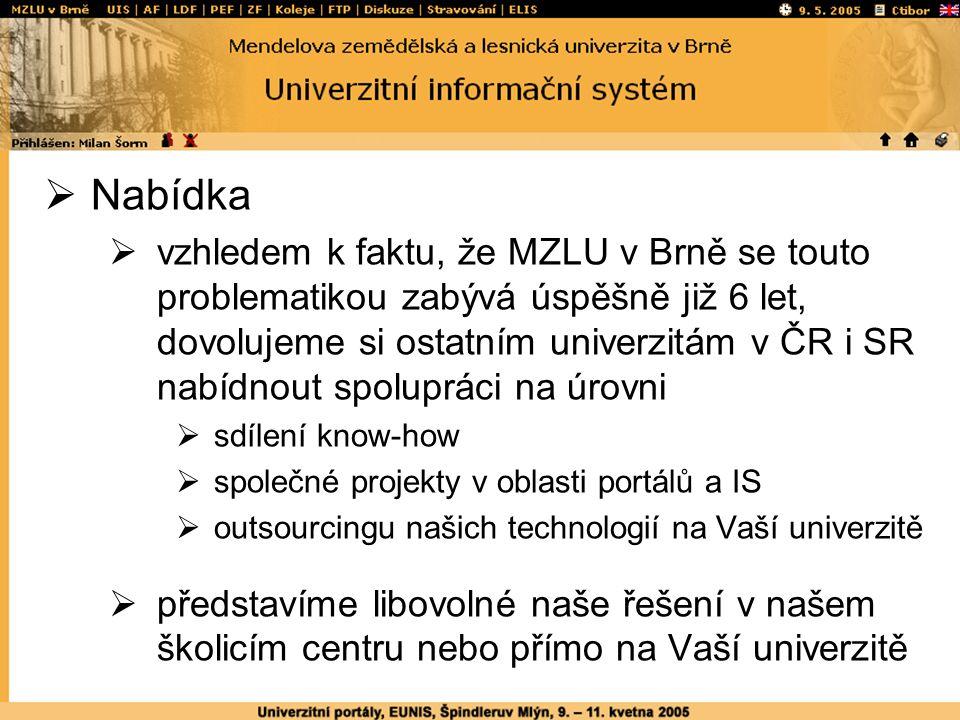  Nabídka  vzhledem k faktu, že MZLU v Brně se touto problematikou zabývá úspěšně již 6 let, dovolujeme si ostatním univerzitám v ČR i SR nabídnout spolupráci na úrovni  sdílení know-how  společné projekty v oblasti portálů a IS  outsourcingu našich technologií na Vaší univerzitě  představíme libovolné naše řešení v našem školicím centru nebo přímo na Vaší univerzitě