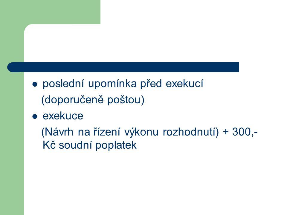 poslední upomínka před exekucí (doporučeně poštou) exekuce (Návrh na řízení výkonu rozhodnutí) + 300,- Kč soudní poplatek