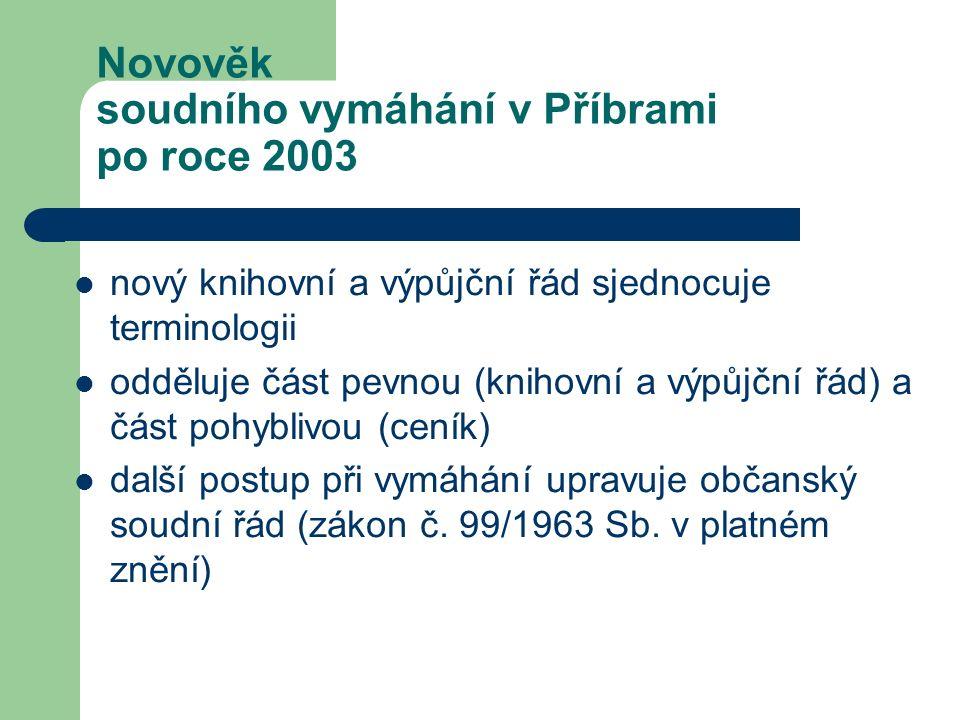 Novověk soudního vymáhání v Příbrami po roce 2003 nový knihovní a výpůjční řád sjednocuje terminologii odděluje část pevnou (knihovní a výpůjční řád)