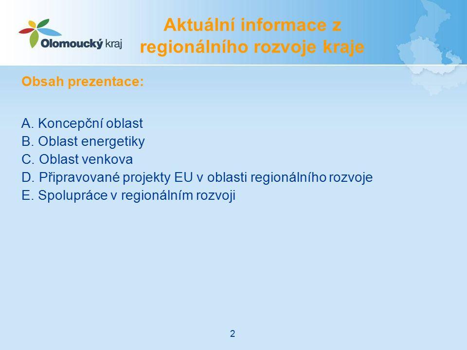 Obsah prezentace: A. Koncepční oblast B. Oblast energetiky C. Oblast venkova D. Připravované projekty EU v oblasti regionálního rozvoje E. Spolupráce