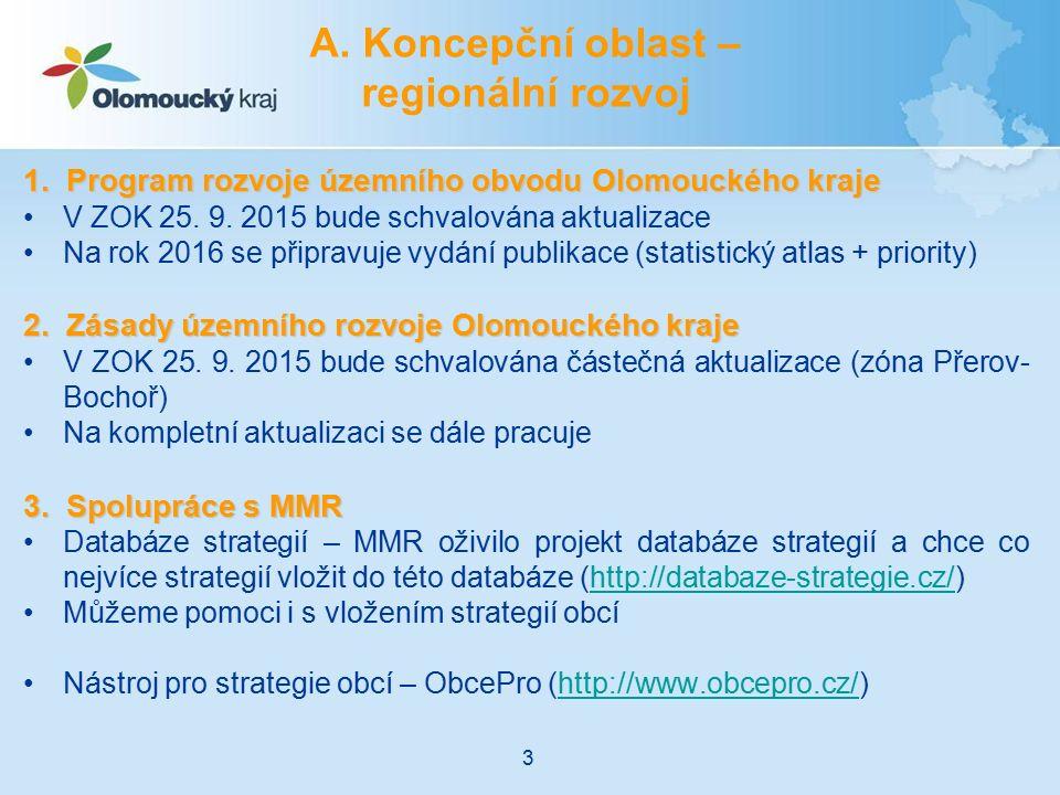 A. Koncepční oblast – regionální rozvoj 1. Program rozvoje územního obvodu Olomouckého kraje V ZOK 25. 9. 2015 bude schvalována aktualizace Na rok 201