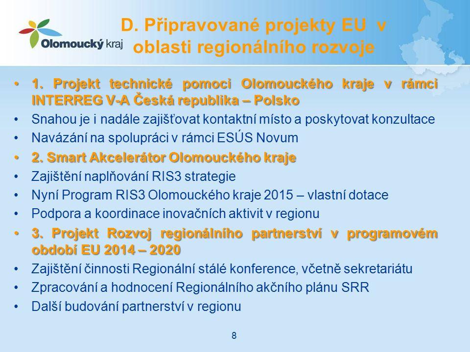 1. Projekt technické pomoci Olomouckého kraje v rámci INTERREG V-A Česká republika – Polsko1. Projekt technické pomoci Olomouckého kraje v rámci INTER