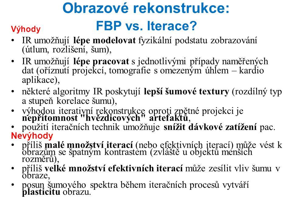 Obrazové rekonstrukce: FBP vs. Iterace.