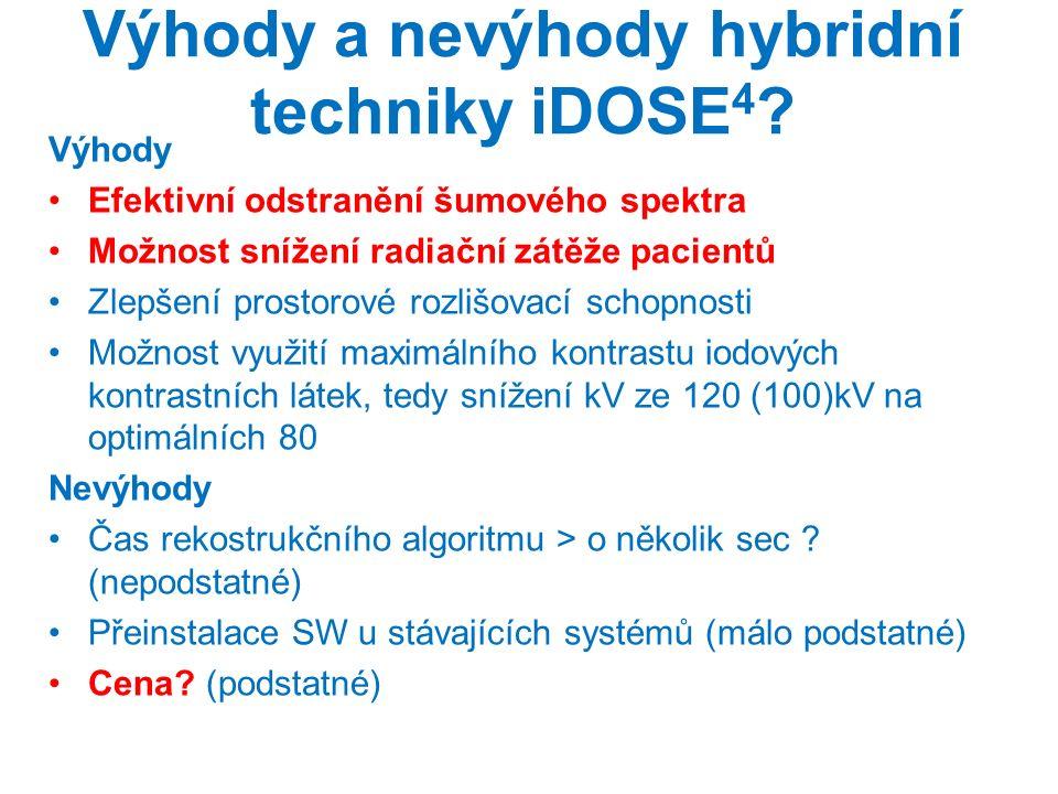 Výhody a nevýhody hybridní techniky iDOSE 4 ? Výhody Efektivní odstranění šumového spektra Možnost snížení radiační zátěže pacientů Zlepšení prostorov