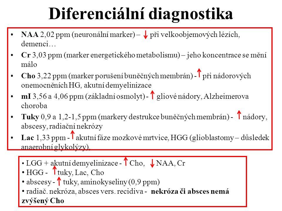 Diferenciální diagnostika NAA 2,02 ppm (neuronální marker) – při velkoobjemových lézích, demenci… Cr 3,03 ppm (marker energetického metabolismu) – jeh