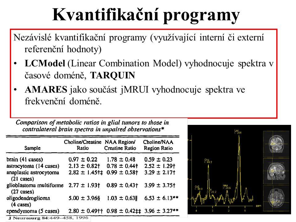 Kvantifikační programy Nezávislé kvantifikační programy (využívající interní či externí referenční hodnoty) LCModel (Linear Combination Model) vyhodnocuje spektra v časové doméně, TARQUIN AMARES jako součást jMRUI vyhodnocuje spektra ve frekvenční doméně.