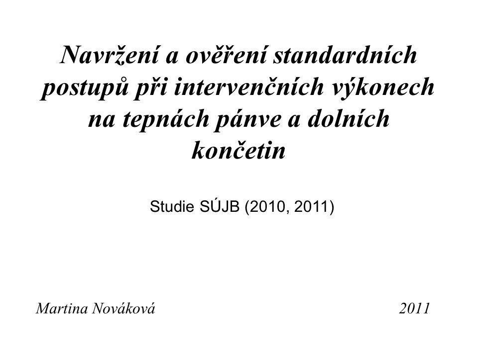 Předmět studie SÚJB V roce 2010 – Navržení standardního postupu pro intervenční výkony v radiologii V roce 2011- Ověření standardního postupu pro intervenční výkony na tepnách pánve a dolních končetin (PTA, stent) navrženého v předchozí zadané práci SÚJB z roku 2010.