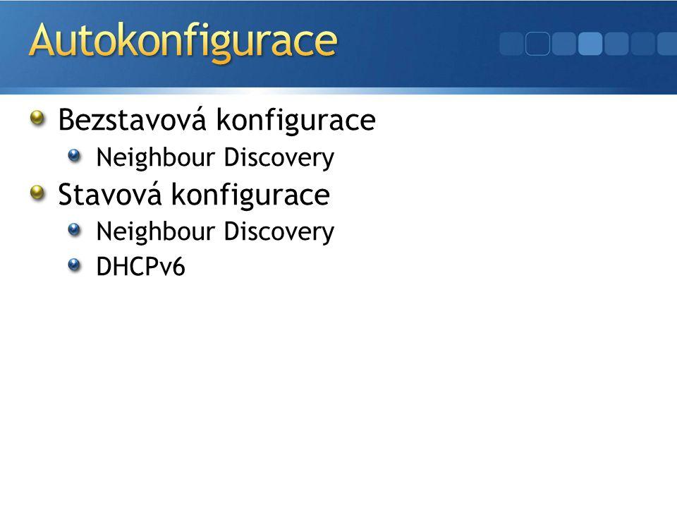 Bezstavová konfigurace Neighbour Discovery Stavová konfigurace Neighbour Discovery DHCPv6