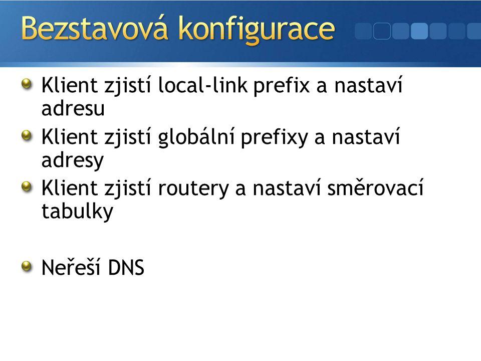 Klient zjistí local-link prefix a nastaví adresu Klient zjistí globální prefixy a nastaví adresy Klient zjistí routery a nastaví směrovací tabulky Neřeší DNS