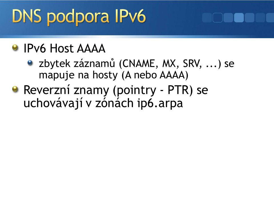 IPv6 Host AAAA zbytek záznamů (CNAME, MX, SRV,...) se mapuje na hosty (A nebo AAAA) Reverzní znamy (pointry - PTR) se uchovávají v zónách ip6.arpa