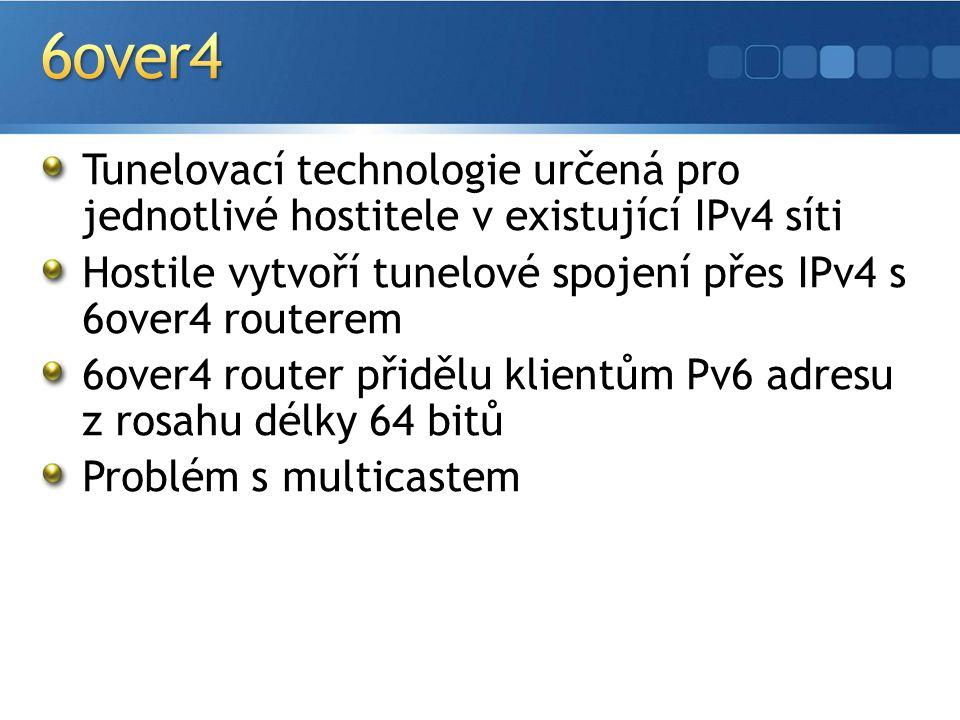 Tunelovací technologie určená pro jednotlivé hostitele v existující IPv4 síti Hostile vytvoří tunelové spojení přes IPv4 s 6over4 routerem 6over4 router přidělu klientům Pv6 adresu z rosahu délky 64 bitů Problém s multicastem