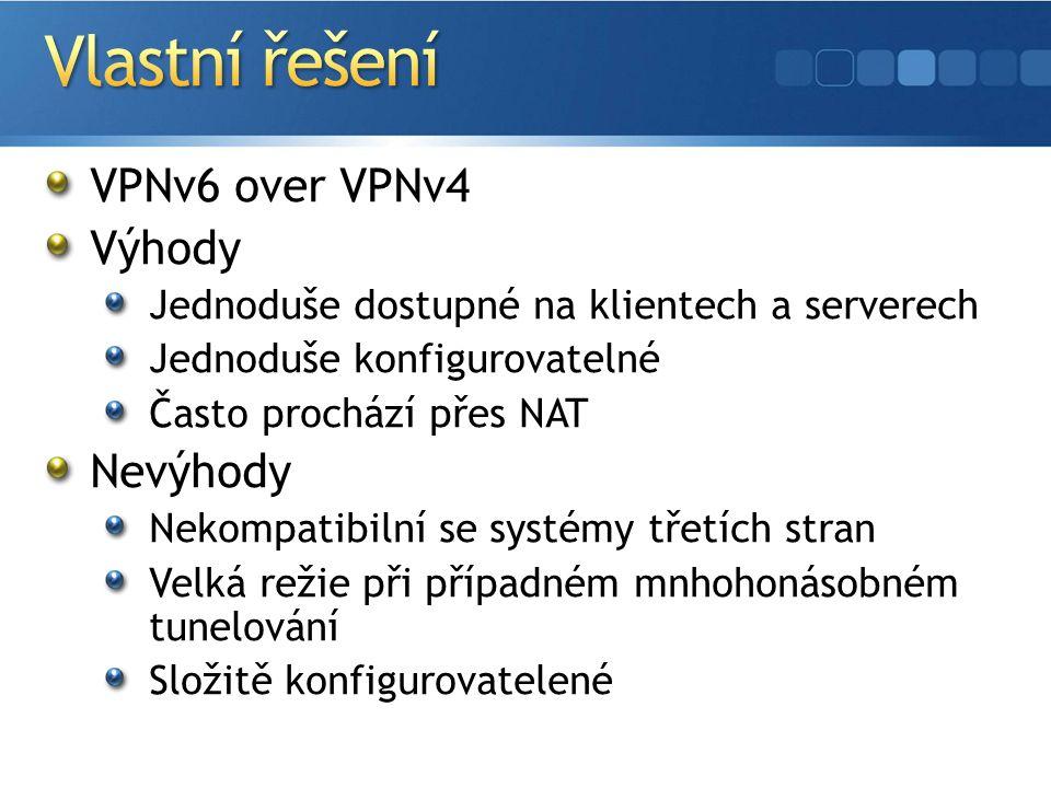VPNv6 over VPNv4 Výhody Jednoduše dostupné na klientech a serverech Jednoduše konfigurovatelné Často prochází přes NAT Nevýhody Nekompatibilní se systémy třetích stran Velká režie při případném mnhohonásobném tunelování Složitě konfigurovatelené