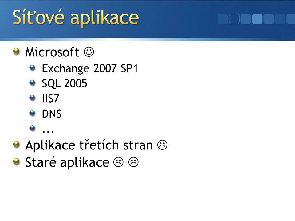 Microsoft Exchange 2007 SP1 SQL 2005 IIS7 DNS... Aplikace třetích stran  Staré aplikace  