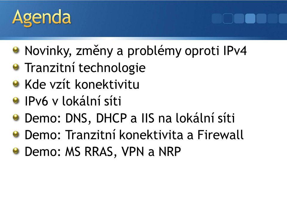 Windows 2003 Server a Windows XP Experimentální podpora postavena nad IPv4 Zvládne Ping + HTTP Windows Server 2008, Windows Vista 99 % připravenost IPv6 a IPv4 implementovány rovnocenně a nezávisle Možnost odinstalovat IPv4 a využívat pouze IPv6