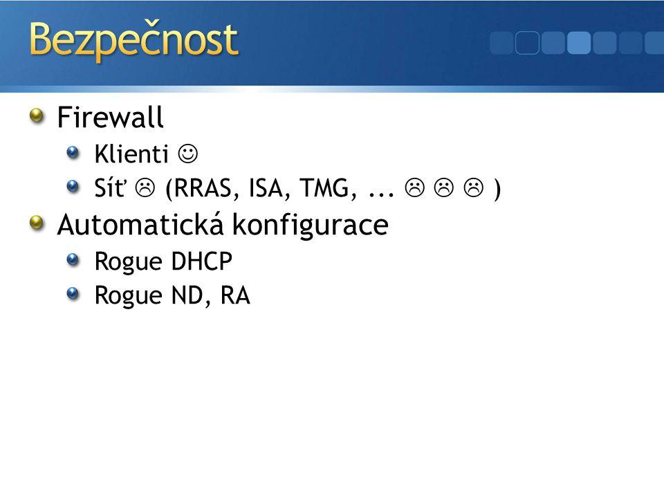 Firewall Klienti Síť  (RRAS, ISA, TMG,...    ) Automatická konfigurace Rogue DHCP Rogue ND, RA
