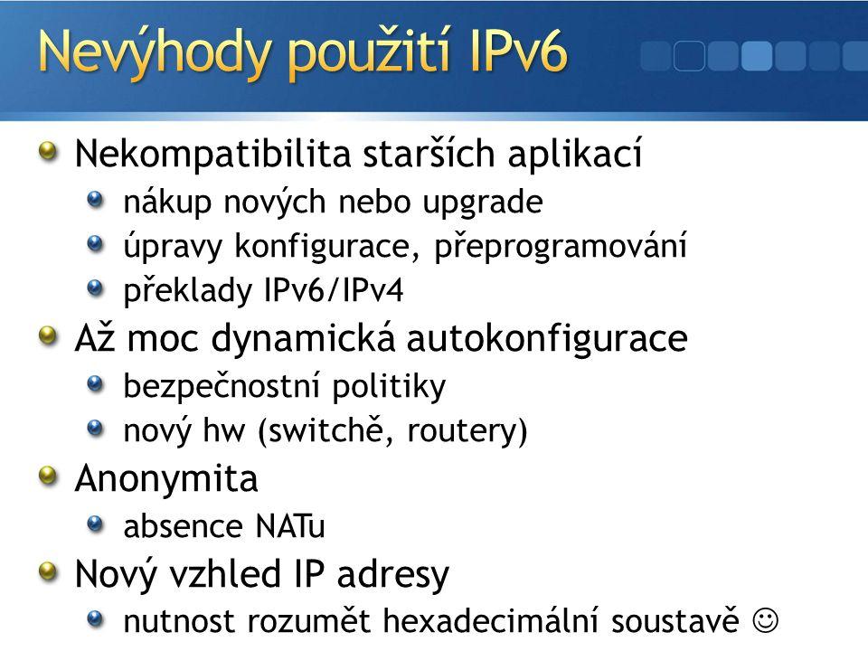 Nekompatibilita starších aplikací nákup nových nebo upgrade úpravy konfigurace, přeprogramování překlady IPv6/IPv4 Až moc dynamická autokonfigurace bezpečnostní politiky nový hw (switchě, routery) Anonymita absence NATu Nový vzhled IP adresy nutnost rozumět hexadecimální soustavě