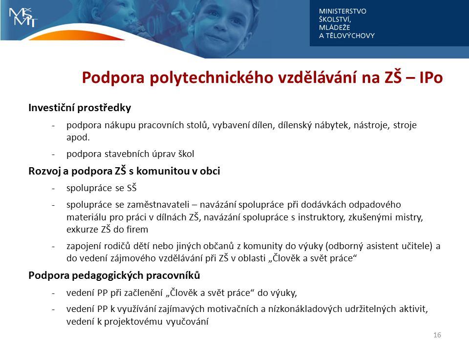 Podpora polytechnického vzdělávání na SŠ – IPo Investiční prostředky -vybavení laboratoří, odborných učeben, strojů, SW apod.