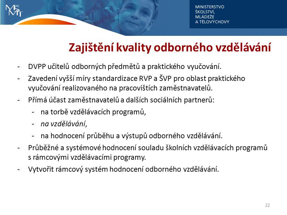 Zajištění kvality odborného vzdělávání -DVPP učitelů odborných předmětů a praktického vyučování. -Zavedení vyšší míry standardizace RVP a ŠVP pro obla