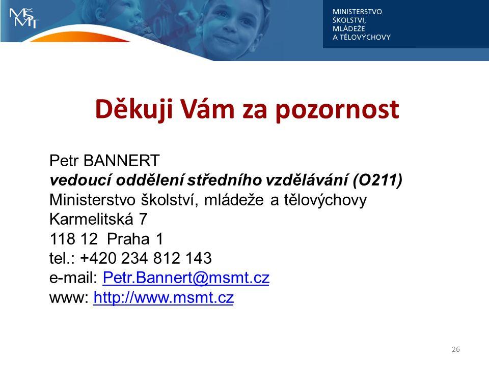 Děkuji Vám za pozornost 26 Petr BANNERT vedoucí oddělení středního vzdělávání (O211) Ministerstvo školství, mládeže a tělovýchovy Karmelitská 7 118 12 Praha 1 tel.: +420 234 812 143 e-mail: Petr.Bannert@msmt.czPetr.Bannert@msmt.cz www: http://www.msmt.czhttp://www.msmt.cz