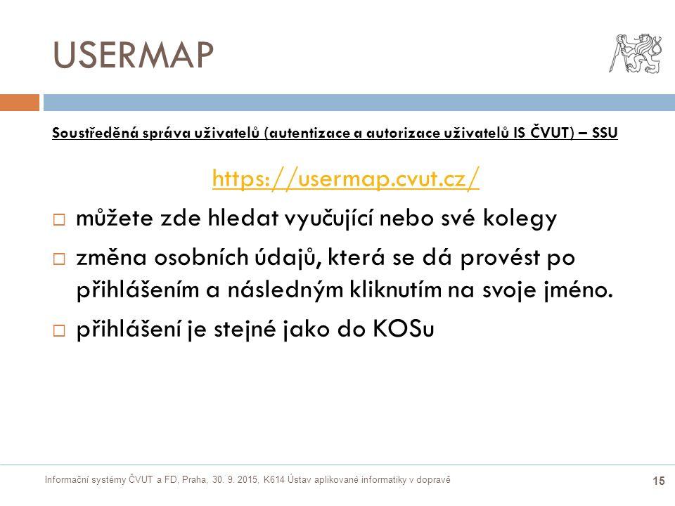 Informační systémy ČVUT a FD, Praha, 30. 9. 2015, K614 Ústav aplikované informatiky v dopravě 15 USERMAP Soustředěná správa uživatelů (autentizace a a